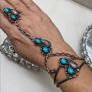 Vintage Sterling Silver Turquoise Slave Bracelet